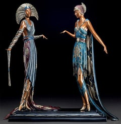 ERTE Signed BRONZE Sculpture TWO VAMPS Original ART DECO antique Female LARGE