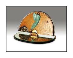 Erte Transcendence Original Bronze Sculpture Table Mirror Signed Art Deco SBO