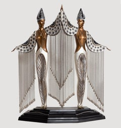 Les Bijoux de Perles, Bronze Art Deco Sculpture by Erte
