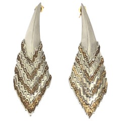Erte Silver and Yellow Gold Earrings
