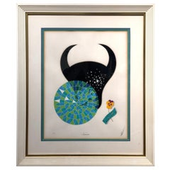 Erte Taurus Zodiac Serigraph Signed and Numbered from 1982 with COA