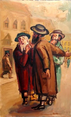 Large American Modernist Judaica Oil Painting Rabbinic Discussion