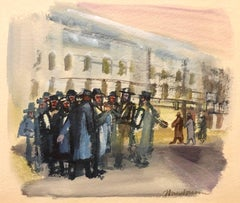 Modernist American Judaica Painting Jewish Men Outside Synagogue Eastern Parkway