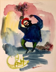 Modernist American Judaica Painting Purim, Dancing on Haman