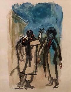 Modernist American Judaica Painting Rabbis in Conversation
