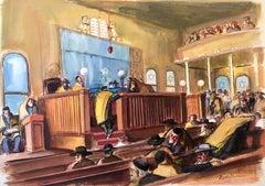 Modernist American Judaica Painting Synagogue Interior Ladies Section WPA Era