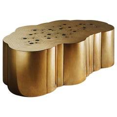 Coffee Table Cloud Shaped 'Rosanna', Erwan Boulloud, Brass and Onyx