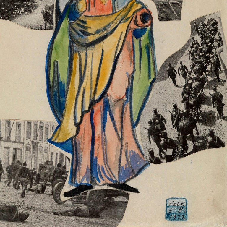 India ink, pencil, watercolour and collage on paper. Inscribed lower right in signet: