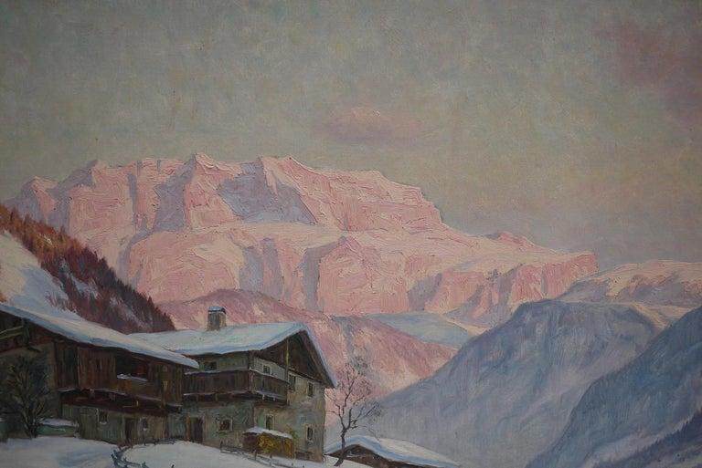 German Sassolungo, Erwin Kettemann, Oil on Canvas Dolomites Painting, 1940