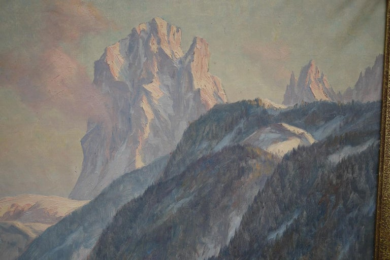 Sassolungo, Erwin Kettemann, Oil on Canvas Dolomites Painting, 1940 In Excellent Condition In Albignasego, IT