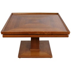 Erwin Lambeth Midcentury Walnut Square Pedestal Side End or Lamp Table