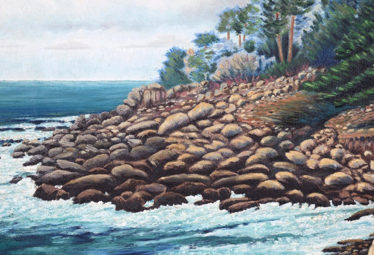 Rocky seascape by San Jose, California artist Erwin M. Wendt (20th Century). Signed lower right corner