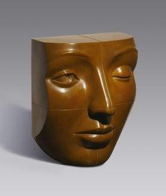 Blockhead Bronze Sculpture Contemporary Face Cubist Brown Patina