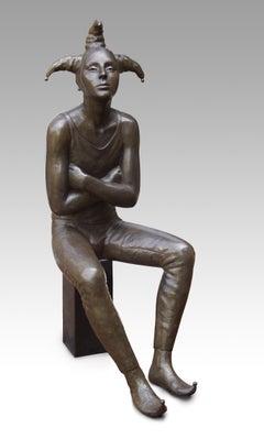 Nar Fool Bronze Sculpture Sitting Man Male Figure Contemporary