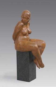 Venus Bronze Sculpture Woman Contemporary Female Nude Sitting Lady