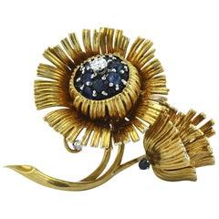 Erwin Pearl 18 Karat Gold Sapphire Diamond Floral Pin Brooch