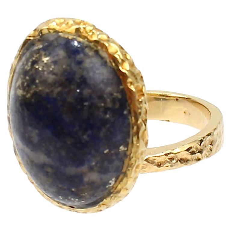 Erwin Pearl Asymmetrical Modernist 18 Karat Gold and Lapis Lazuli Cocktail Ring For Sale