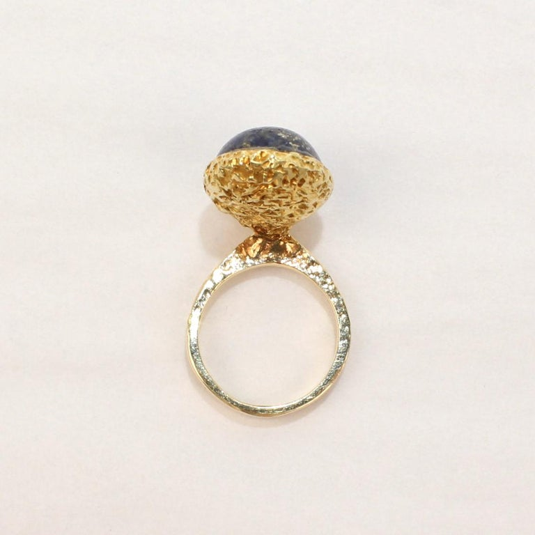 Erwin Pearl Asymmetrical Modernist 18 Karat Gold and Lapis Lazuli Cocktail Ring For Sale 5
