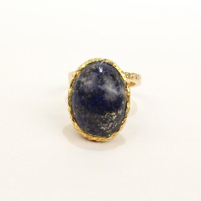 Erwin Pearl Asymmetrical Modernist 18 Karat Gold and Lapis Lazuli Cocktail Ring For Sale 7