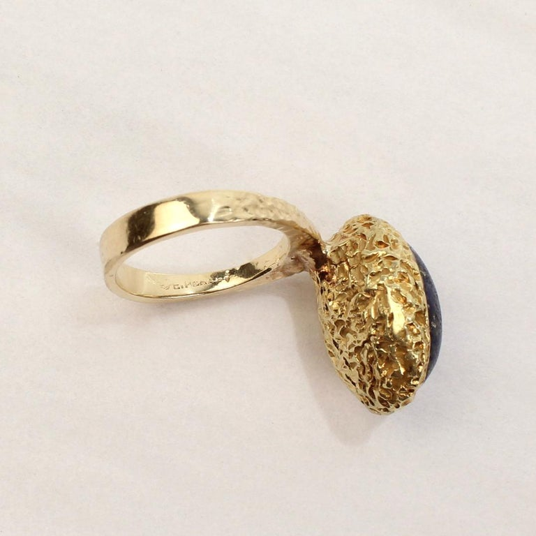 Erwin Pearl Asymmetrical Modernist 18 Karat Gold and Lapis Lazuli Cocktail Ring For Sale 8