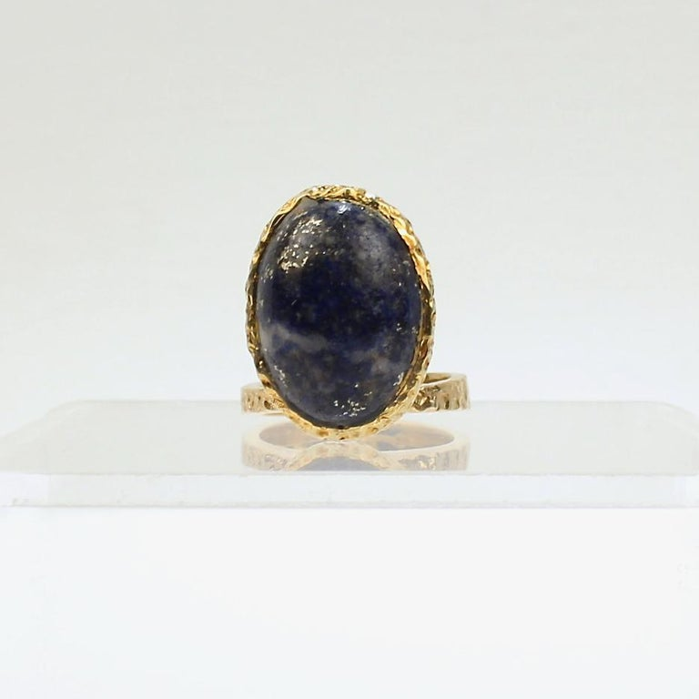 Cabochon Erwin Pearl Asymmetrical Modernist 18 Karat Gold and Lapis Lazuli Cocktail Ring For Sale