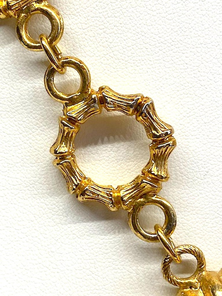 Erwin Pearl Gold & Carved Glass 1980s Pendant Necklace For Sale 4