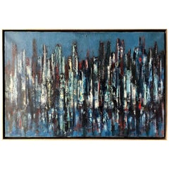 Erwin Wending Abstract Modernist New York City Riverfront Oil Painting