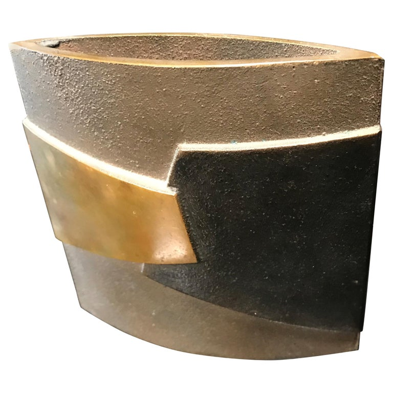 Esa Fedrigolli Bronze AIRONE Italian Vase, 1980 For Sale