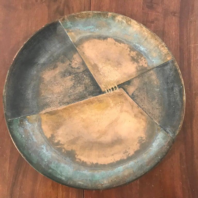 Mid-Century Modern Esa Fedrigolli Bronze Icaro Large Italian Plate For Sale