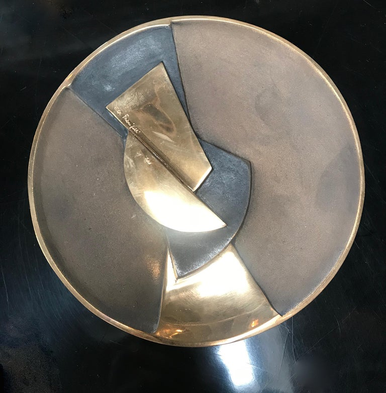 """Plate/Ashtray hand-finished in three color bronze signed by E. Fedrigolli. Italy 1980. A large sculptural centrepiece by the Italian designer, Esa. Signed by the artist and """"Certificate of Authenticity"""". Esa Fedrigolli is an Italian visual artist"""