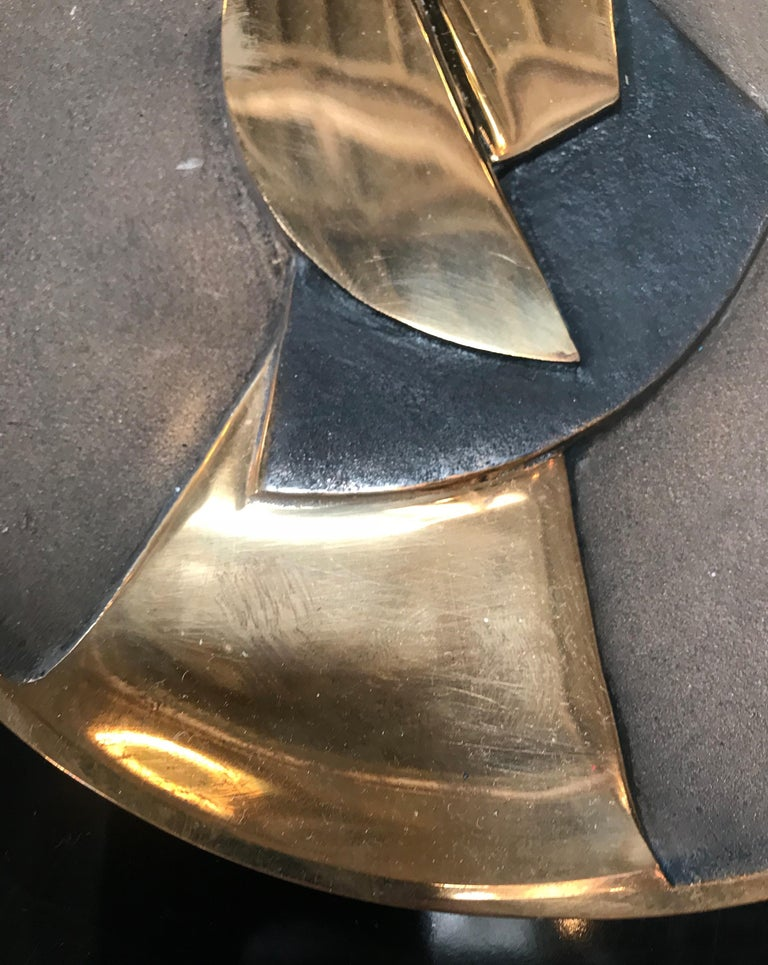 Post-Modern Esa Fedrigolli Bronze Kaleido Large Italian Plate, 1980 For Sale