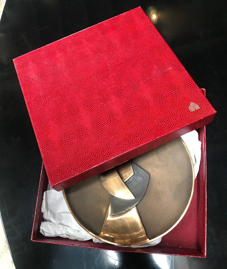 Esa Fedrigolli Bronze Kaleido Large Italian Plate, 1980 For Sale 1