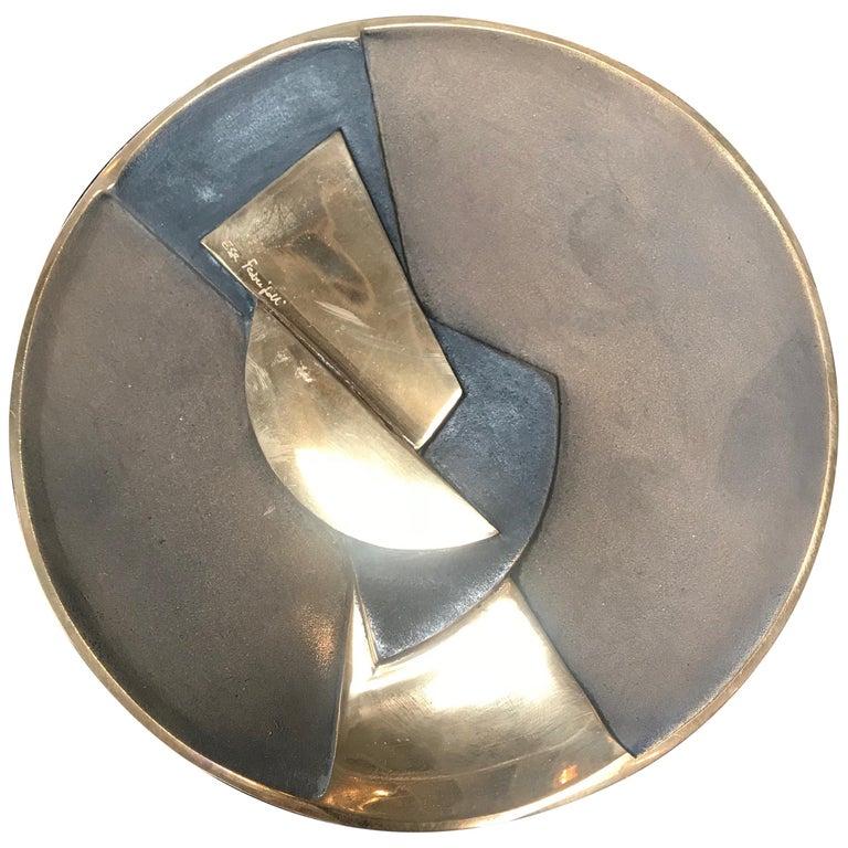 Esa Fedrigolli Bronze Kaleido Large Italian Plate, 1980 For Sale