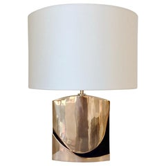Esa Fedrigolli Signed Bronze Table Lamp, circa 1970, Italy