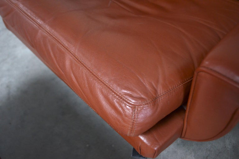 Esa Model 802 Leather Danish Lounge Chair and Ottoman by Werner Langenfeld, 1960 For Sale 7