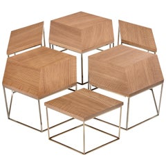 Esagon Coffee Table, Geometric Wood Top on Slim Metal Legs in Walnut Wood
