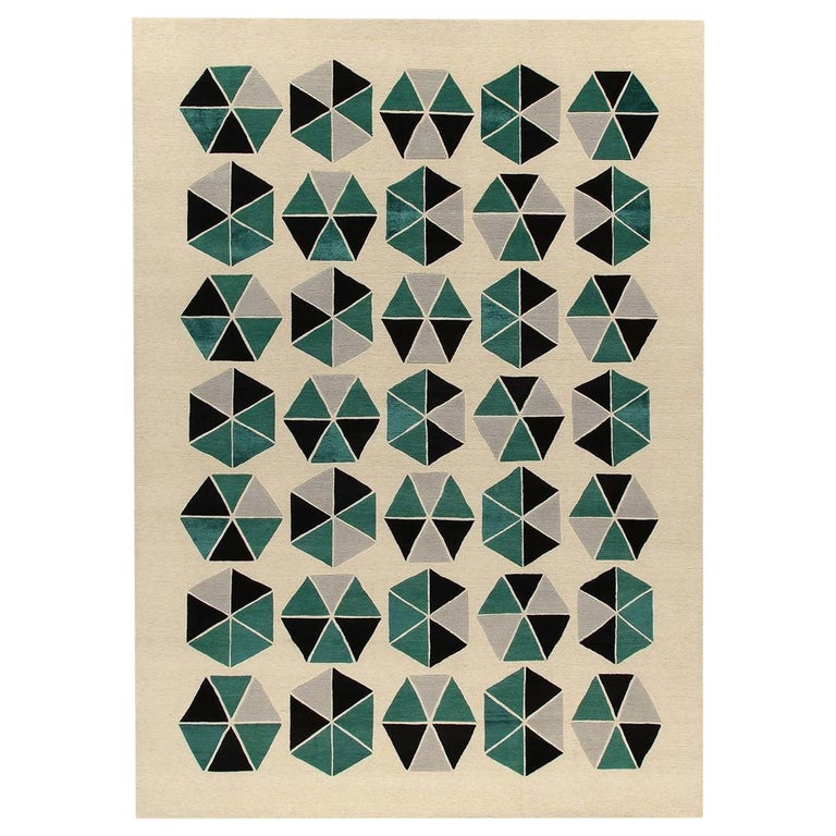 Esagoni Green Carpet by Gio Ponti For Sale