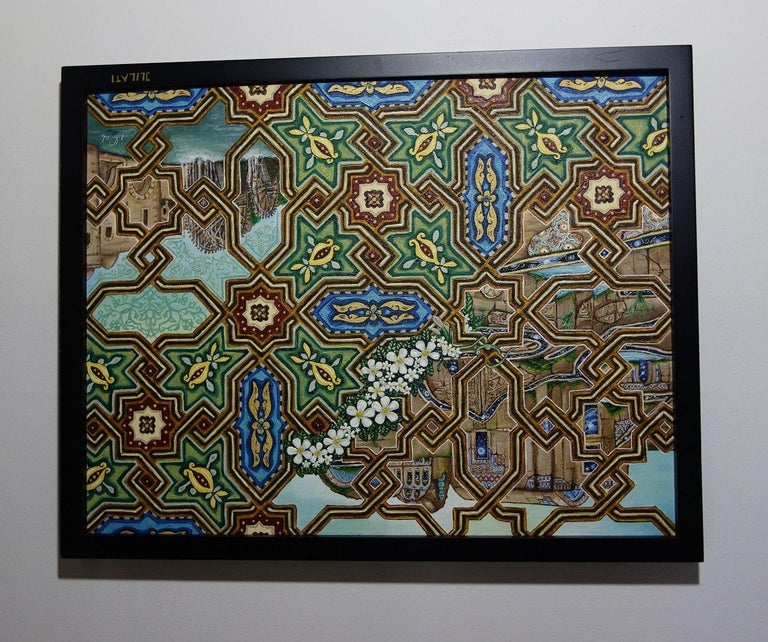 oil painting architecture arabesque Mosaic Art, Painting, Oil on Canvas For Sale 1