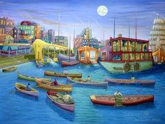 Original oil painting, Joyful Journey, Painting, Oil on Canvas
