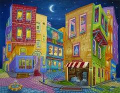 Original oil painting, Night Walk, Painting, Oil on Canvas