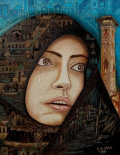 original oil painting surrealism Tears of War, Painting, Oil on Canvas