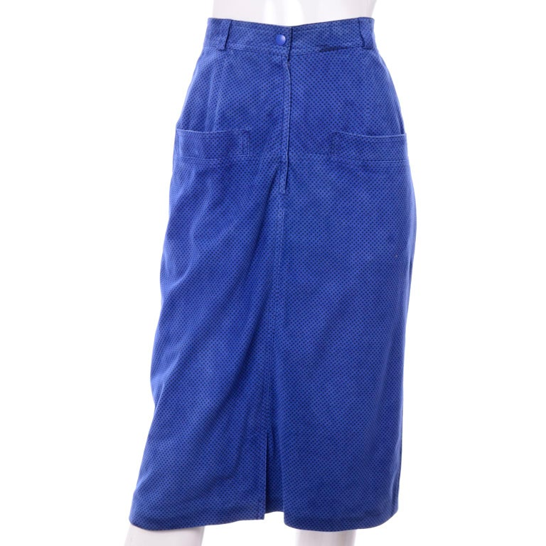 Escada 1980's Blue Suede Asymmetrical Jacket W/ Slits & Skirt  by Margartha Ley For Sale 6