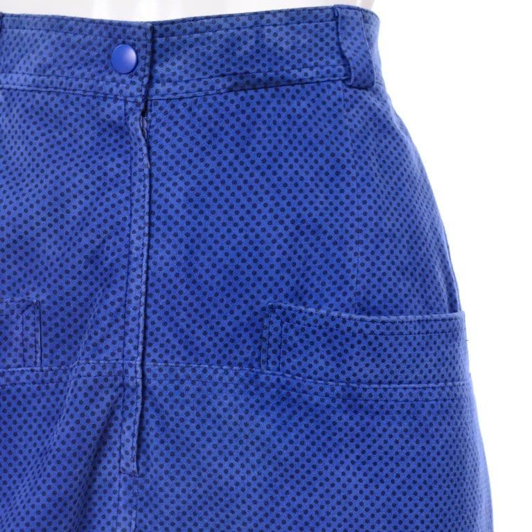 Escada 1980's Blue Suede Asymmetrical Jacket W/ Slits & Skirt  by Margartha Ley For Sale 7