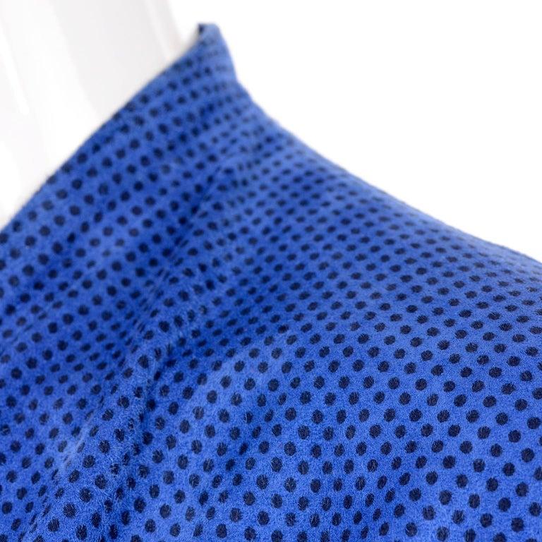 Escada 1980's Blue Suede Asymmetrical Jacket W/ Slits & Skirt  by Margartha Ley For Sale 8