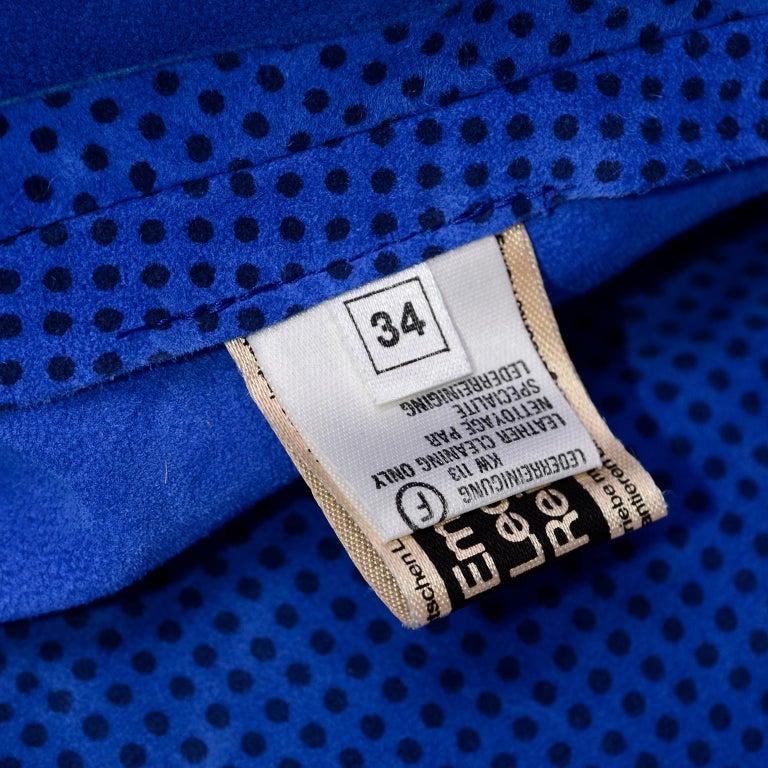 Escada 1980's Blue Suede Asymmetrical Jacket W/ Slits & Skirt  by Margartha Ley For Sale 9