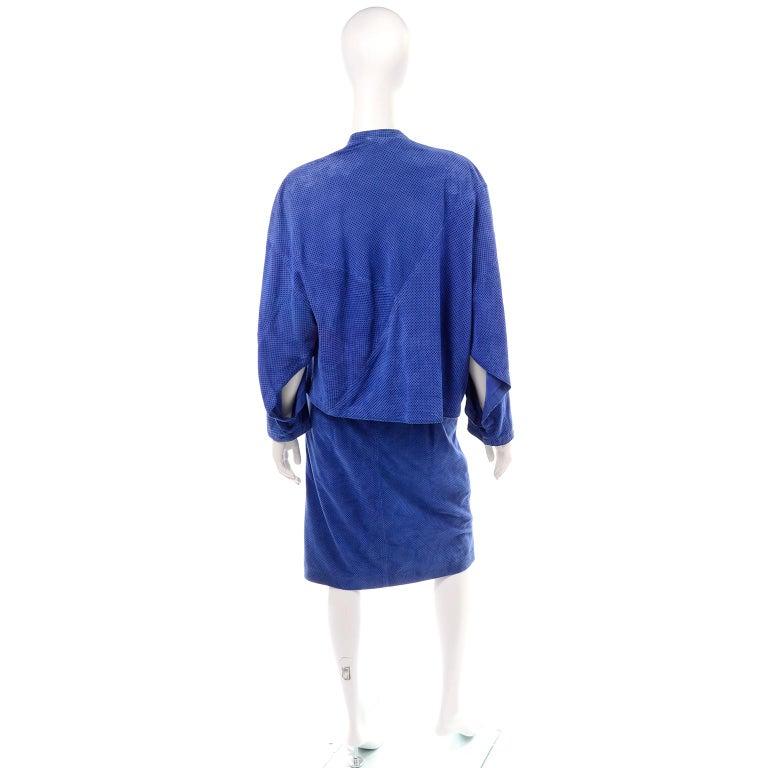 Escada 1980's Blue Suede Asymmetrical Jacket W/ Slits & Skirt  by Margartha Ley For Sale 2