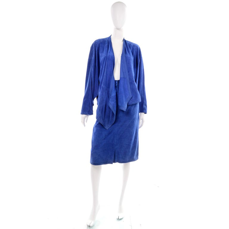 Escada 1980's Blue Suede Asymmetrical Jacket W/ Slits & Skirt  by Margartha Ley In Excellent Condition For Sale In Portland, OR