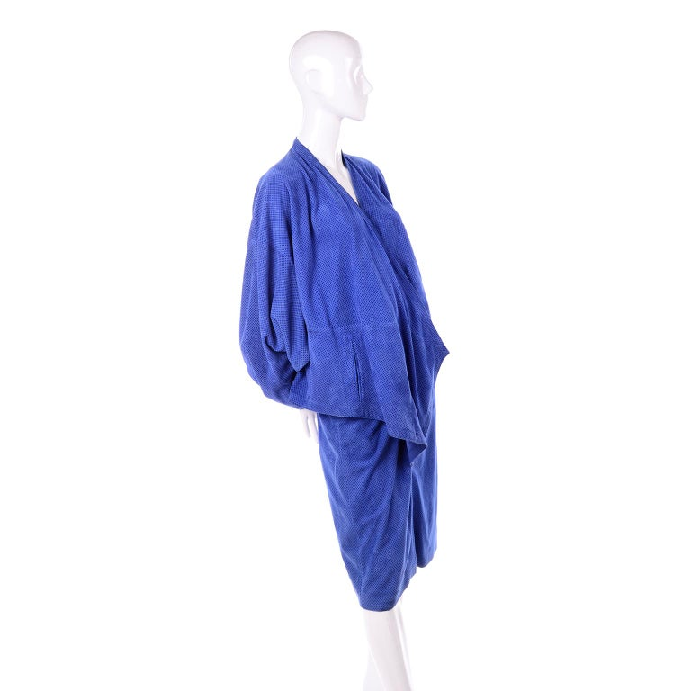 Escada 1980's Blue Suede Asymmetrical Jacket W/ Slits & Skirt  by Margartha Ley For Sale 1