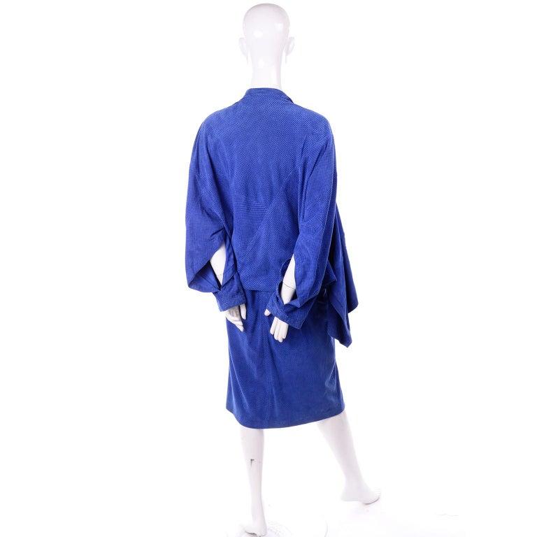 Escada 1980's Blue Suede Asymmetrical Jacket W/ Slits & Skirt  by Margartha Ley For Sale 3