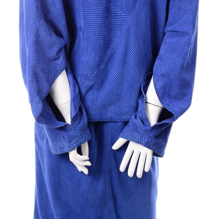 Escada 1980's Blue Suede Asymmetrical Jacket W/ Slits & Skirt  by Margartha Ley For Sale 4